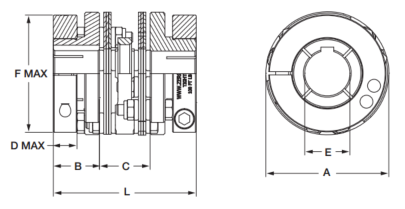 Zero Max 6P45-A1C CD CPLG ALUM SERVO HUB DBL FLX