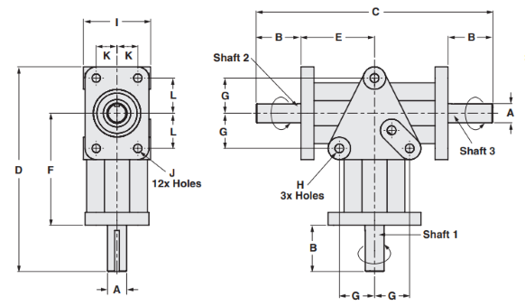 Three Way Right Angle Gearbox