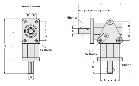 Two Way Right Angle Gearbox